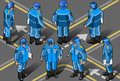 Isometric set of military peacekeepers Stock Photos