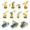 Isometric set of robotic hand machine tool at industrial manufacture factory. Industrial welding robots in production