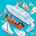 Isometric Set Ships. Sea Transport