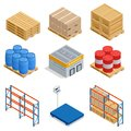 Isometric set of Storage equipment isometric icons. Shipping vector icons with boxes, container and warehouse shelves Royalty Free Stock Photo