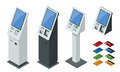 Isometric set vector online payment systems and self-service payments terminals, debit credit card and cash receipt. NFC