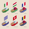 Isometric ships with flags: France, Romania, Hungary, Italy, Switzerland, Greece
