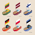 Isometric ships with flags: Germany, Latvia, Estonia, Lithuania,