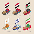 Isometric ships with flags: Iraq, Iran, Jordan, Syria, Cyprus, Israel