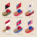 Isometric ships with flags: Papua New Guinea, Myanmar, South and North Korea, Indonesia, Malaysia
