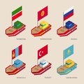 Isometric ships with flags: Russia, Kazakhstan, Kyrgyzstan, Turkey, Tatarstan, Mongolia