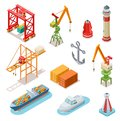 Isometric ships. Sea transport maritime terminal shipping logistics port seaport crane ship shipping nautical barge 3d