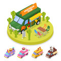 Isometric Street Vegeterian Food Truck with People Royalty Free Stock Photo