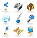 Isometric-style icons for geography Royalty Free Stock Images