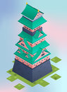 Isometric traditional japanese castle.