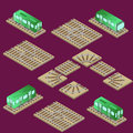 Isometric train and railway system, with parts, turn and crossro