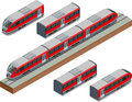 Isometric train tracks and modern high speed train Vector isometric illustration of a Fast-Train. Vehicles designed to