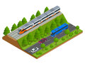 Isometric train tracks and modern train. Railroad icons. Modern high speed red commuter train. Flat 3d isometric vector