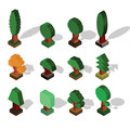 Isometric tree set of different trees with shade in isometric p projection vector illustration Royalty Free Stock Photo