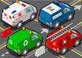 Isometric trucks firefighters police ambulance garbage collector detailed illustration of a in rear view this illustration is Stock Photography