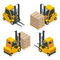Isometric vector Compact Forklift Trucks isolated on white. Storage equipment icon set. Forklifts in various Royalty Free Stock Photo