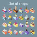 Isometric vector 3d illustration of shops.