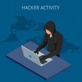 Isometric vector Internet hacker attack and personal data security concept. Computer security technology. E-mail spam
