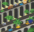 Isometric vector road to the bridge to transport Royalty Free Stock Image