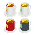 Isometric vector set of multicolored ceramic cups with tea and a piece lemon on white background. Drink Modern vector