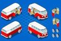 Isometric Volkswagen Bus Stock Photos