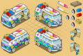 Isometric Volkswagen Flower Bus Royalty Free Stock Images