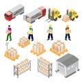 Isometric warehouse logistics elements