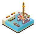 Isometric Water Oil Platform Concept