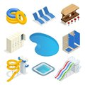 Isometric water park attractions vector icon set with inflatable swimming circles, sun beds, locker room, lockers, pool Royalty Free Stock Photo