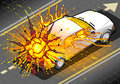 Isometric white car in explosion in rear view detailed illustration of a Stock Photo