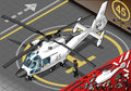 Isometric white helicopter landed in front view detailed illustration of a this illustration is saved eps with color space Stock Image