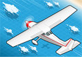 Isometric white plane in flight in rear view detailed illustration of a illustration eps with color space rgb Royalty Free Stock Images