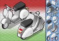Isometric white scooter in two position Royalty Free Stock Photography