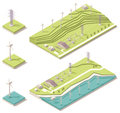 Isometric wind farm vector map representing offshore and onshore farms Stock Photos