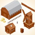 Isometric wooden cabins and house vector clip art houses log cabin wood windmill rustic outhouse farm barn Royalty Free Stock Photo