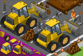 Isometric yellow bulldozer in rear view detailed illustration of a this illustration is saved eps with color space rgb Stock Photos