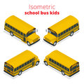 Isometric Yellow School Bus Kids vector illustration isolated on white background. Royalty Free Stock Photo
