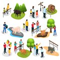 stock image of  Isometric Zoo Elements Collection