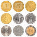 Israel circulating coins collection isolated on white background Stock Photo