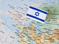 Israel flag pin on map Royalty Free Stock Photo