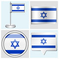 Israel flag set of sticker button label and fl various flagstaff Royalty Free Stock Photo