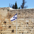 Israel Flag and The Wailing Wall Royalty Free Stock Photos