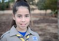 Israel girl scout on the way to summer camp a happy Stock Photo