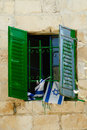 Israel green window with flags Royalty Free Stock Photography