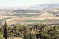 Israel landscape jezreel valley with mosaic fields from the top of the mount tabor Royalty Free Stock Images