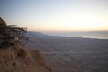 Israel masada dawn from with dead sea in the background the dead sea is m deep the deepest hypersaline lake in the world its Royalty Free Stock Image