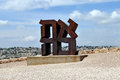 The israel museum ahava sculpture by robert indiana jerusalem may love in hebrew cor ten steel american at on may jerusalem Royalty Free Stock Photography