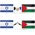 Israel and palestine concept showing the flags of divided by weapons or a handshake signifying war peace Stock Image