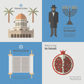 Israel poster set. Flat icon. Vector