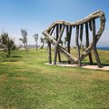 stock image of  Israel Tel Aviv art harp heart shape
